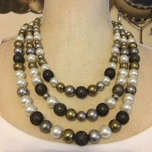 Vintage layered triple strand beaded necklace